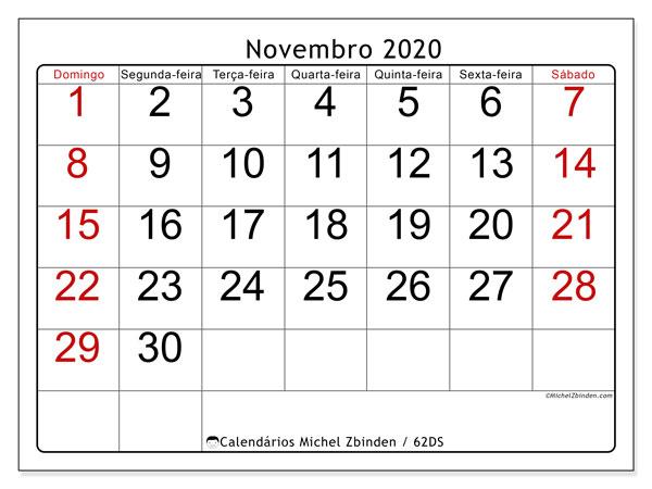 Calendário novembro 2020, 62DS. Calendário para imprimir livre.