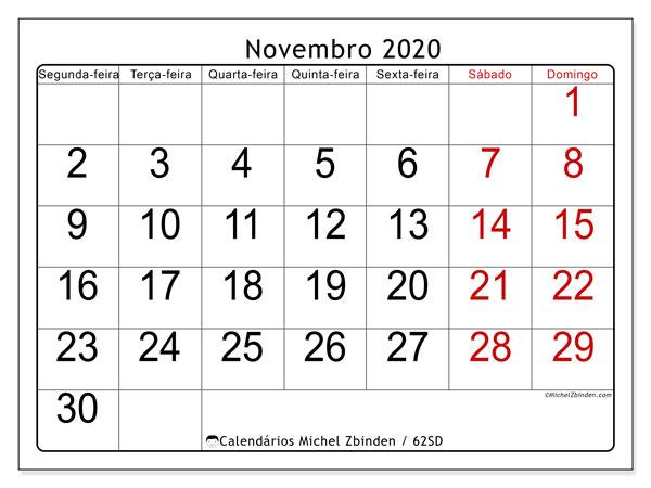 Calendário novembro 2020, 62SD. Calendário gratuito para imprimir.