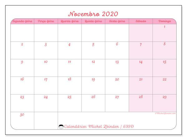 Calendário novembro 2020, 63SD. Calendário mensal para imprimir gratuitamente.