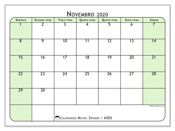 Calendário novembro 2020, 65DS. Calendário para o mês para imprimir livre.