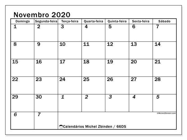 Calendário novembro 2020, 66DS. Agenda para imprimir livre.