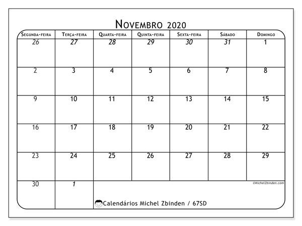 Calendário novembro 2020, 67SD. Calendário para o mês para imprimir livre.