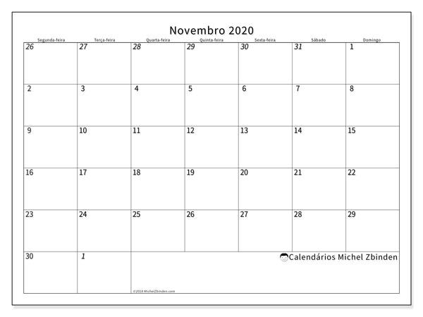 Calendário novembro 2020, 70SD. Calendário mensal para imprimir gratuitamente.