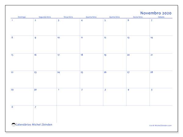Calendário novembro 2020, 73DS. Calendário mensal para imprimir gratuitamente.