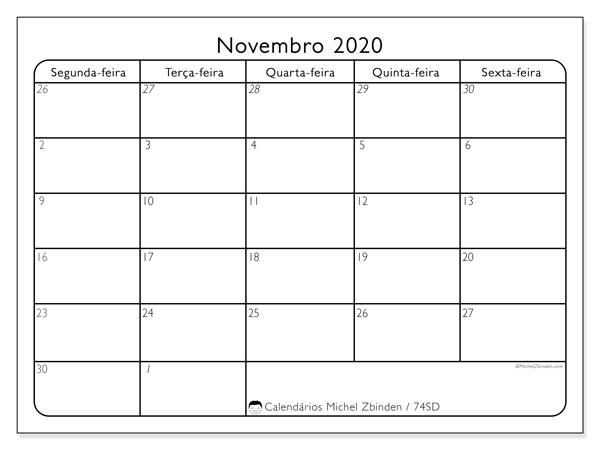 Calendário novembro 2020, 74SD. Agenda para imprimir livre.