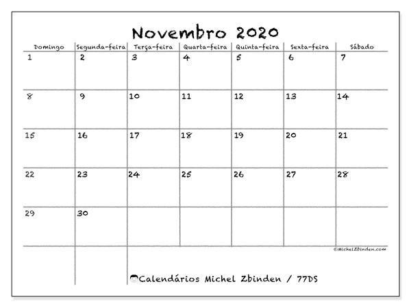 Calendário novembro 2020, 77DS. Calendário para imprimir gratuitamente.