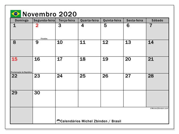 Calendário novembro 2020, com as festas do Brasil. Calendário para impressão gratuita com feriados.