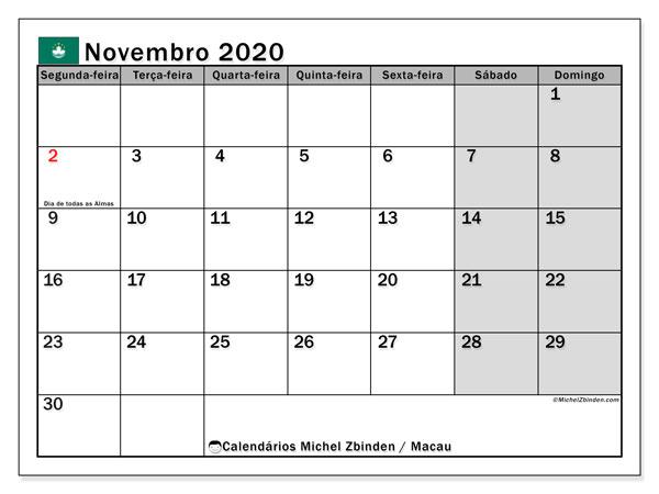 Calendário novembro 2020, com as festas do Macau. Calendário feriados para imprimir gratuitamente.