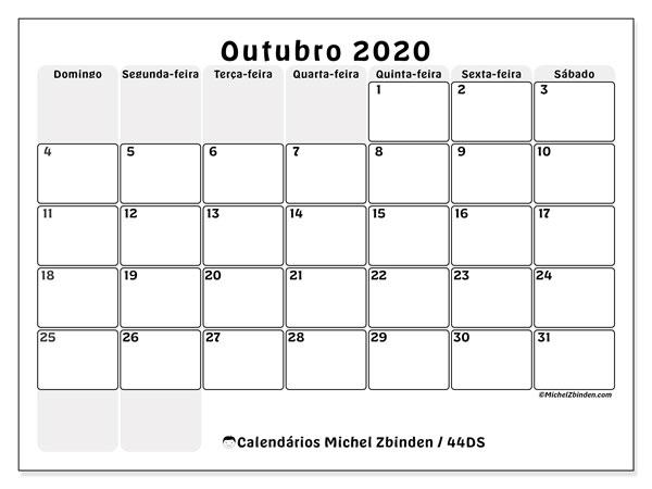 Calendário outubro 2020, 44DS. Agenda para imprimir livre.