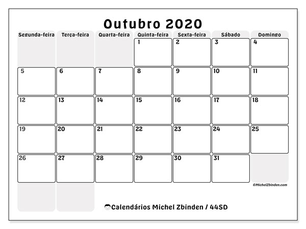 Calendário outubro 2020, 44SD. Calendário mensal para imprimir gratuitamente.