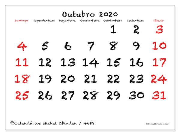 Calendário outubro 2020, 46DS. Calendário mensal para imprimir gratuitamente.