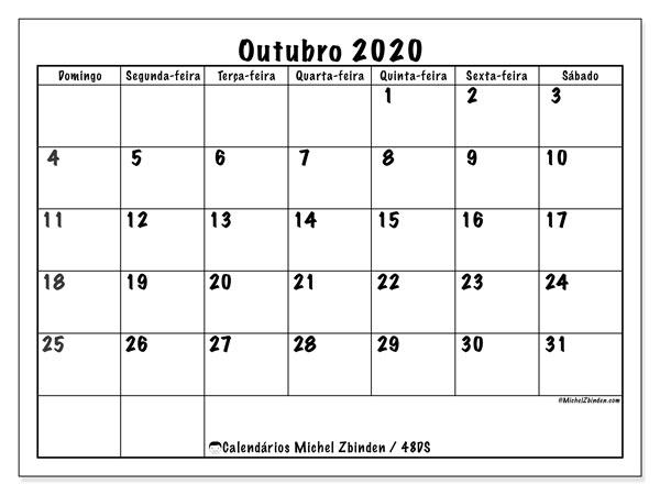 Calendário outubro 2020, 48DS. Calendário para imprimir livre.