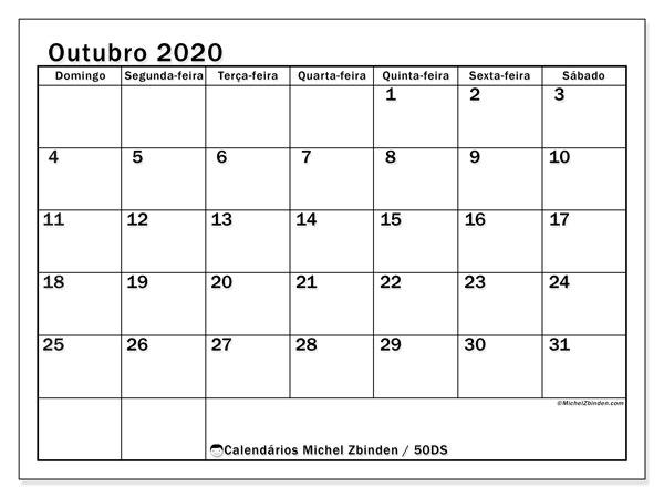 Calendário outubro 2020, 50DS. Calendário para o mês para imprimir livre.