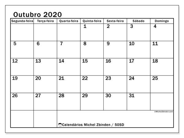 Calendário outubro 2020, 50SD. Horário para imprimir livre.
