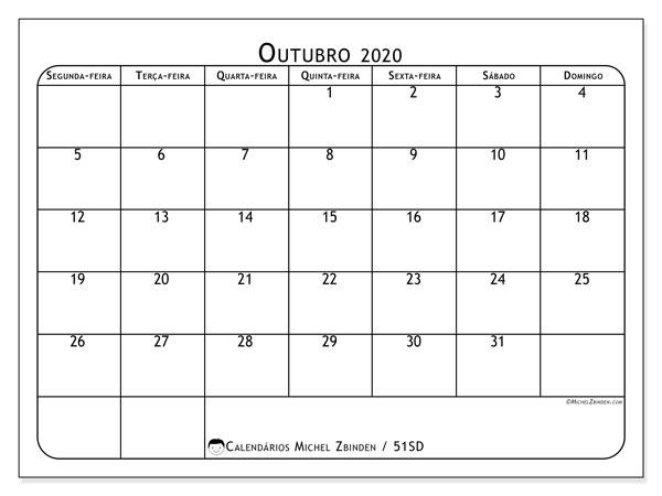 Calendário outubro 2020, 51SD. Calendário para o mês para imprimir livre.