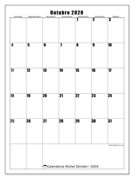Calendário outubro 2020, 52DS. Calendário gratuito para imprimir.