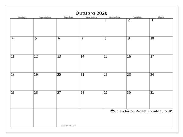 Calendário outubro 2020, 53DS. Calendário para o mês para imprimir livre.