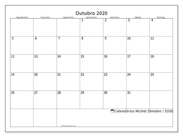 Calendário outubro 2020, 53SD. Calendário mensal para imprimir gratuitamente.