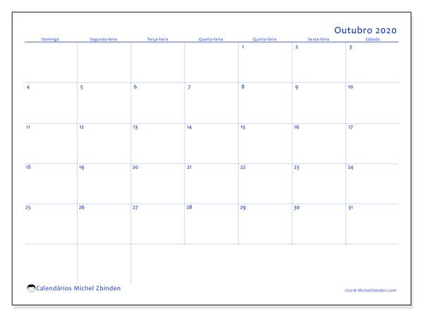Calendário outubro 2020, 55DS. Calendário gratuito para imprimir.