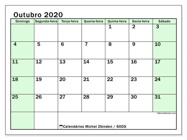 Calendário outubro 2020, 60DS. Calendário gratuito para imprimir.