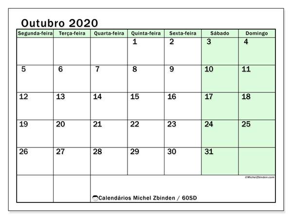 Calendário outubro 2020, 60SD. Calendário gratuito para imprimir.