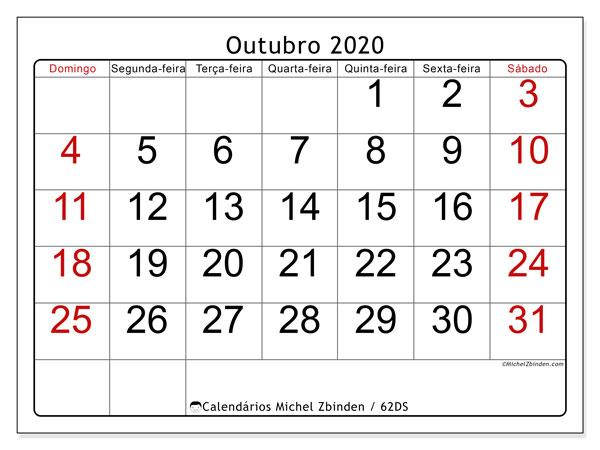 Calendário outubro 2020, 62DS. Calendário para imprimir livre.