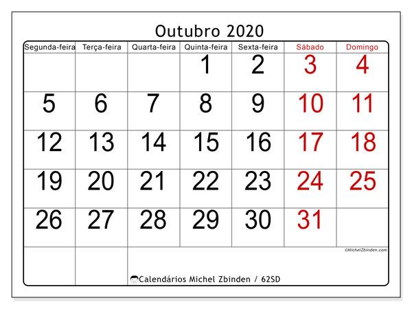 Calendário outubro 2020, 62SD. Agenda para imprimir livre.