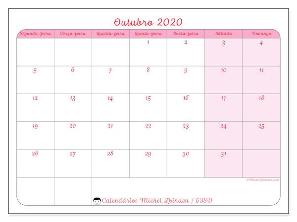 Calendário outubro 2020, 63SD. Calendário mensal para imprimir gratuitamente.