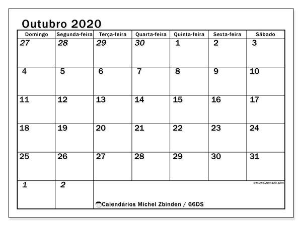 Calendário outubro 2020, 66DS. Calendário para o mês para imprimir livre.