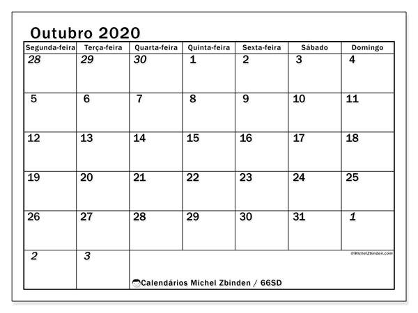 Calendário outubro 2020, 66SD. Calendário para o mês para imprimir livre.
