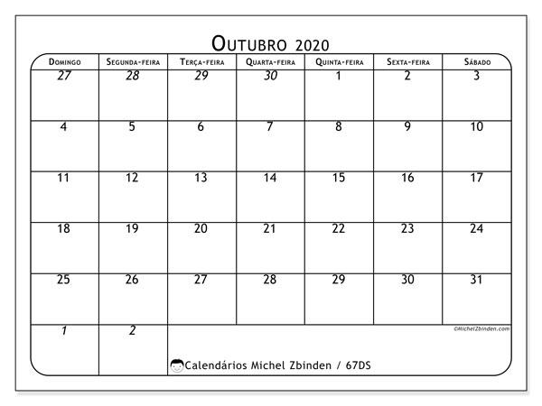 Calendário outubro 2020, 67DS. Calendário para imprimir gratuitamente.