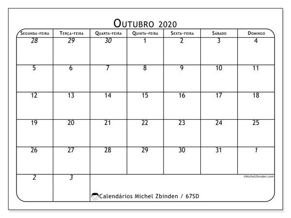 Calendário outubro 2020, 67SD. Calendário mensal para imprimir gratuitamente.