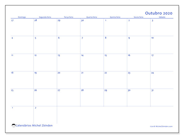 Calendário outubro 2020, 73DS. Horário para imprimir livre.