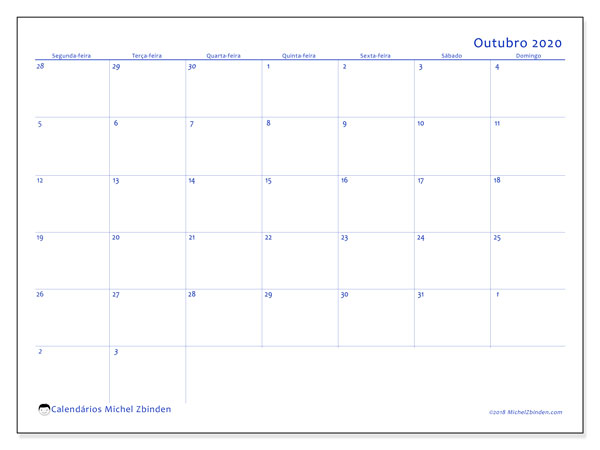 Calendário outubro 2020, 73SD. Calendário mensal para imprimir gratuitamente.