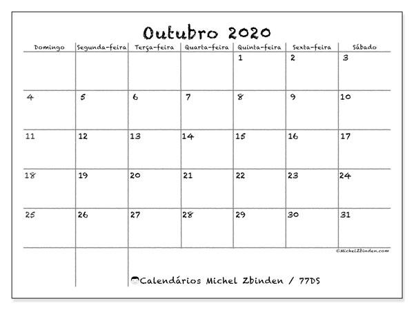 Calendário outubro 2020, 77DS. Calendário mensal para imprimir gratuitamente.