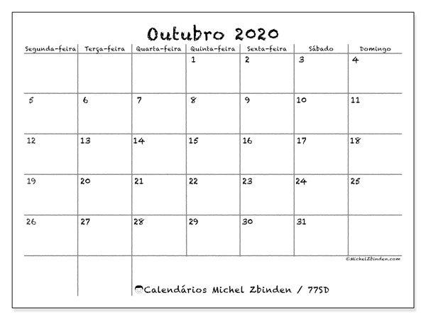 Calendário outubro 2020, 77SD. Calendário para imprimir livre.