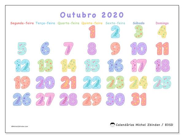 Calendário outubro 2020, 83SD. Calendário para imprimir gratuitamente.