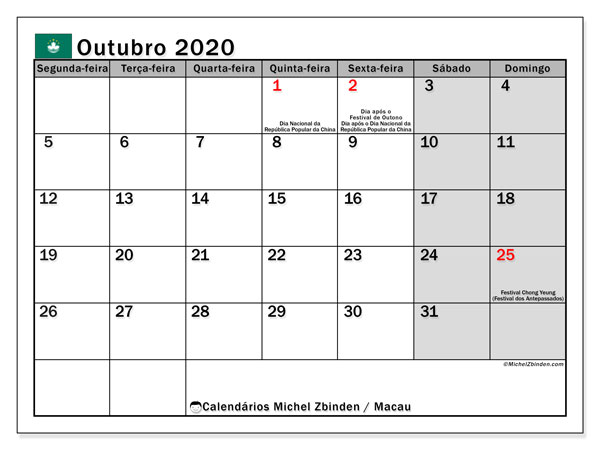 Calendário outubro 2020, com as festas do Macau. Calendário feriados para imprimir gratuitamente.