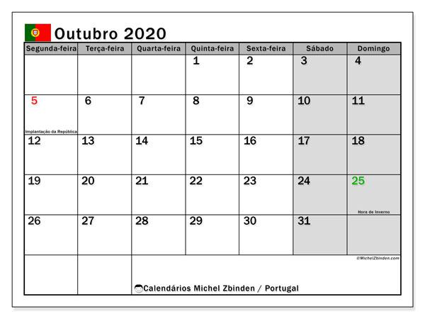 Calendário em outubro  de 2020, com feriados públicos em Portugal. Agenda para imprimir livre.