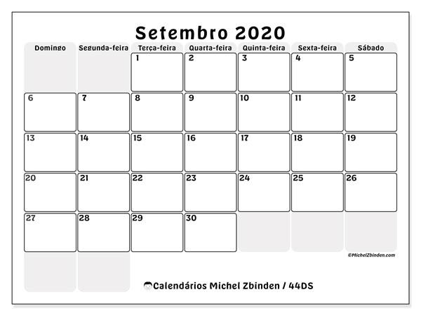 Calendário setembro 2020, 44DS. Calendário para o mês para imprimir livre.