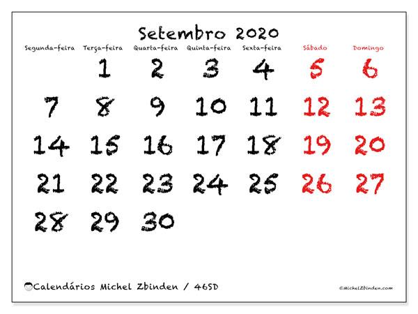 Calendário setembro 2020, 46SD. Horário para imprimir livre.