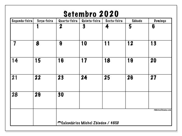 Calendário setembro 2020, 48SD. Agenda para imprimir livre.