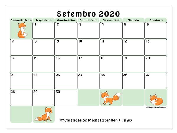 Calendário setembro 2020, 49SD. Agenda para imprimir livre.
