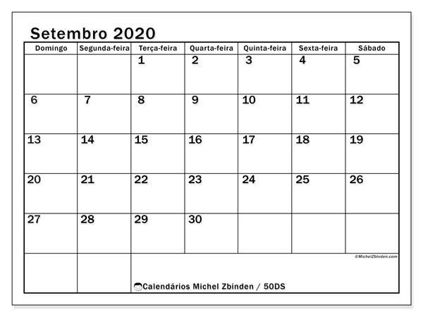 Calendário setembro 2020, 50DS. Calendário para o mês para imprimir livre.