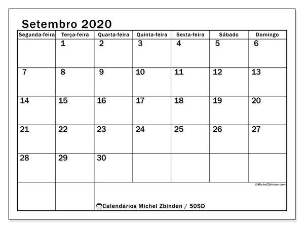 Calendário setembro 2020, 50SD. Calendário para imprimir livre.