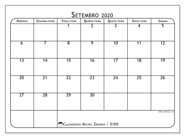 Calendário setembro 2020, 51DS. Calendário para imprimir livre.