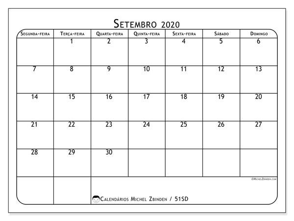 Calendário setembro 2020, 51SD. Calendário para o mês para imprimir livre.