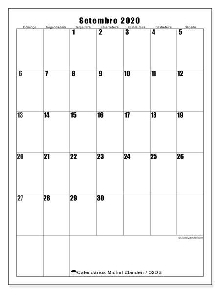 Calendário setembro 2020, 52DS. Calendário gratuito para imprimir.
