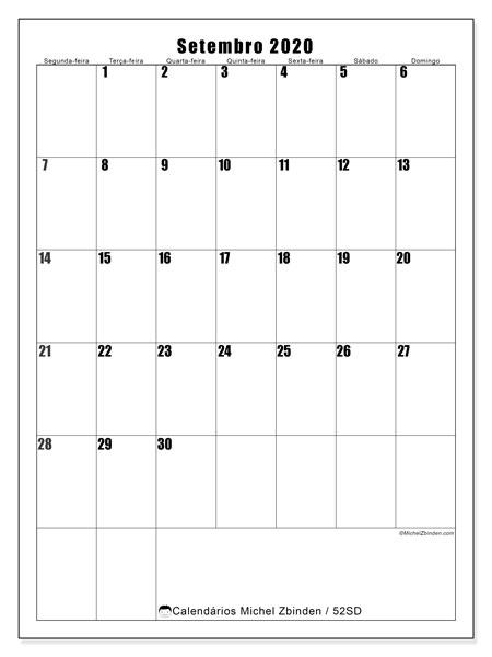 Calendário setembro 2020, 52SD. Calendário gratuito para imprimir.