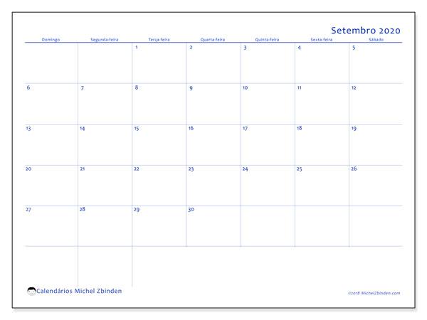 Calendário setembro 2020, 55DS. Agenda para imprimir livre.